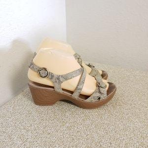 Dansko Julie Snake Print Sandals
